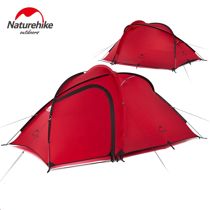 NatureHike Hiby Family Tent 2-3 Person Waterproof Hiking Camping Tents 1 Room One Hall 4 Season 20D Nylon Silicone Tent with Mat naturehike factory hiby family tent 20d silicone fabric waterproof double layer 3 person 3 season camping tent one room one hall
