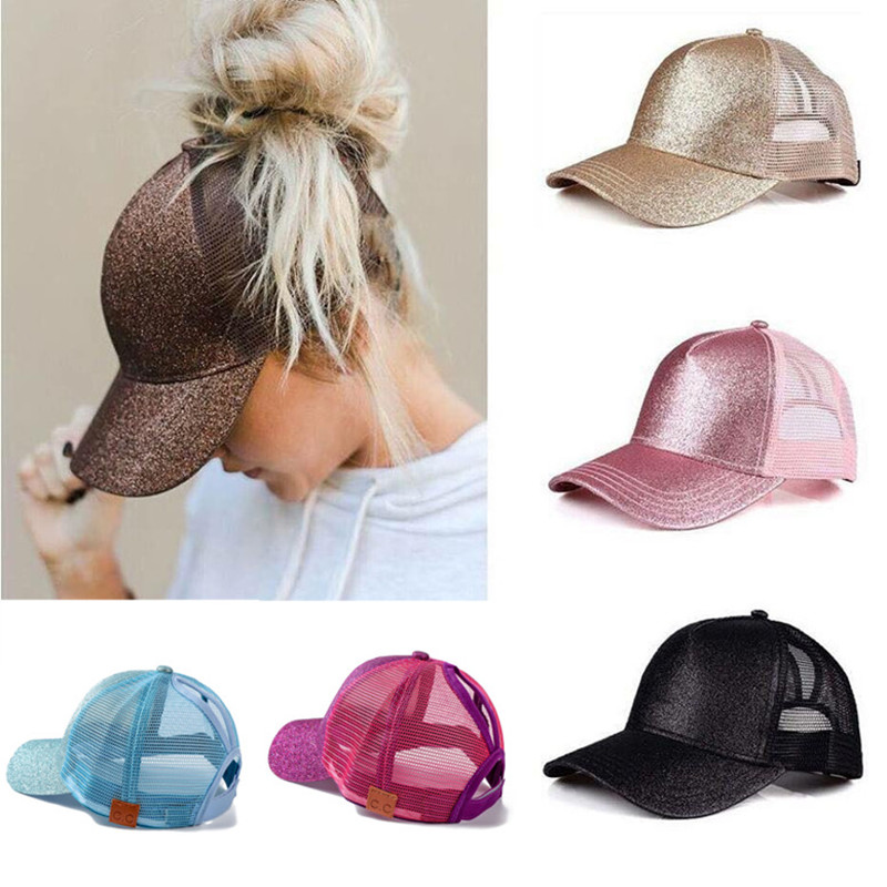 2018 CC Glitter Ponytail Baseball Cap Snapback Dad Hat Women Summer Mesh Trucker Hats Casual Messy Bun Sequin Shine Hip Hop Caps flat baseball cap fitted snapback hats for women summer mesh hip hop caps men brand quick dry dad hat bone trucker gorras