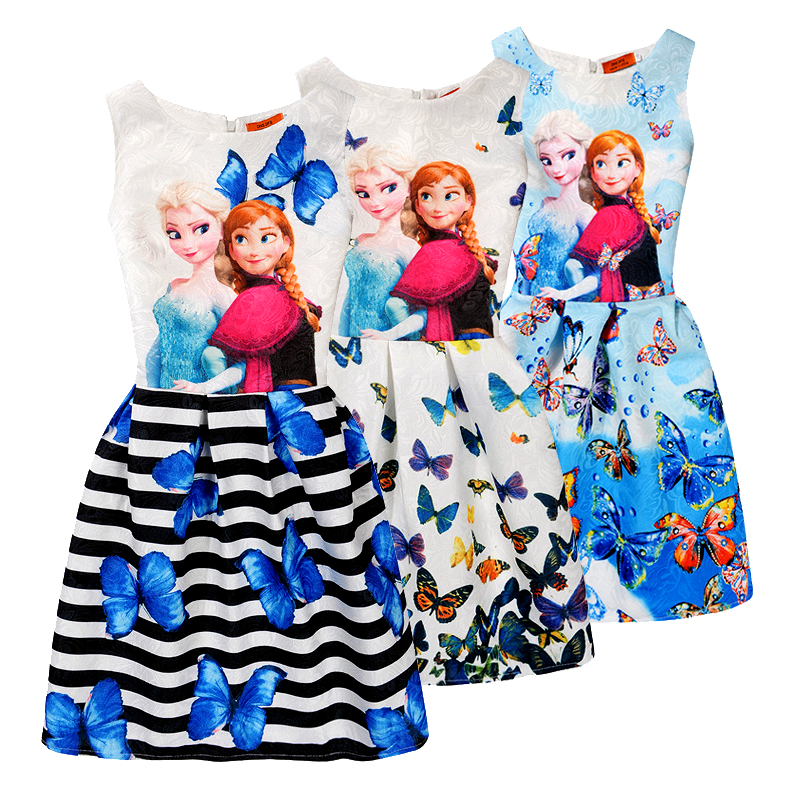 Elsa Dress for Girls Summer Kids Vest Dress Butterfly Print Sleeveless Dresses Girl Princess Anna Elsa Dress Party Girl Clothes