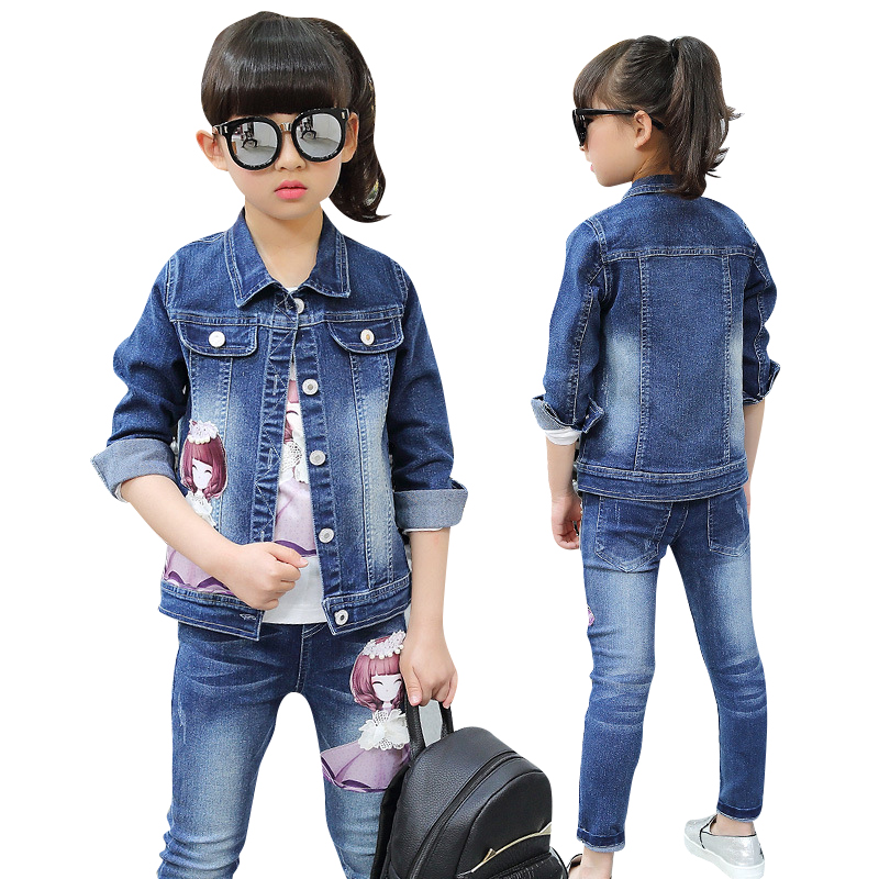 2016 fashion winter children clothing sets girl boutique outfits denim short jackets cotton Mla winter style fashion set
