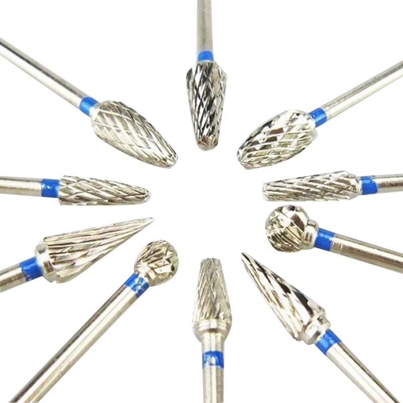 10 Pcs bahan gigi mesin penggiling, Berlian Burs laboratorium gigi putih baja Tungsten kepala Grinding
