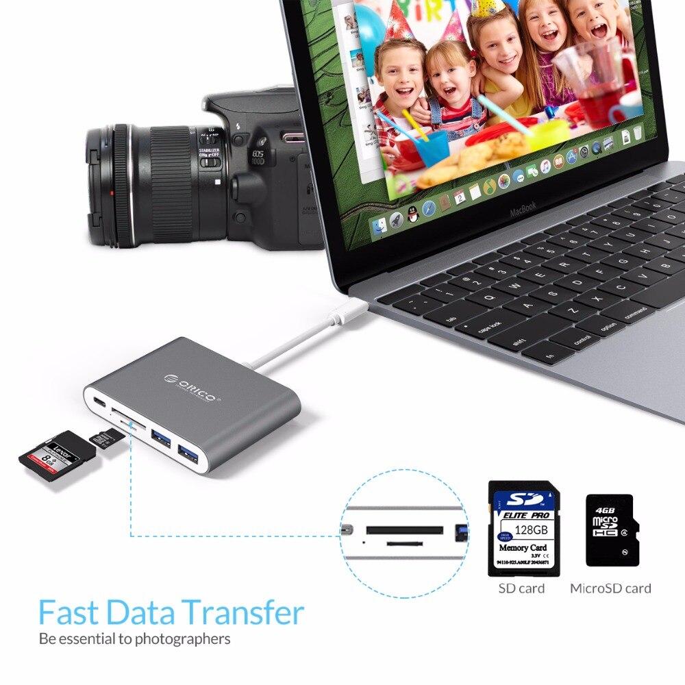 ORICO Aluminium Type-C naar TF SD-kaartlezer met 2 USB3.0-poorten - Computerrandapparatuur - Foto 4
