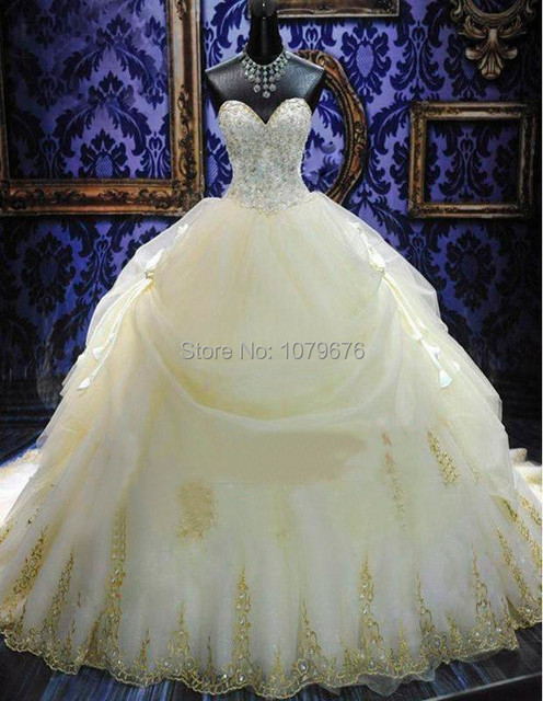 Vintage Royal Princess Wedding Dress Ball Gowns 2014 Gold Lace Appliques Beaded Vestidos Dresses Bridal Long