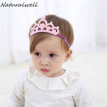Naturalwell Baby Girls Crown Headband Lovely Gold Princess Hair Band Baby Shower Gift Children Infant Hair Accessories HB039(China)