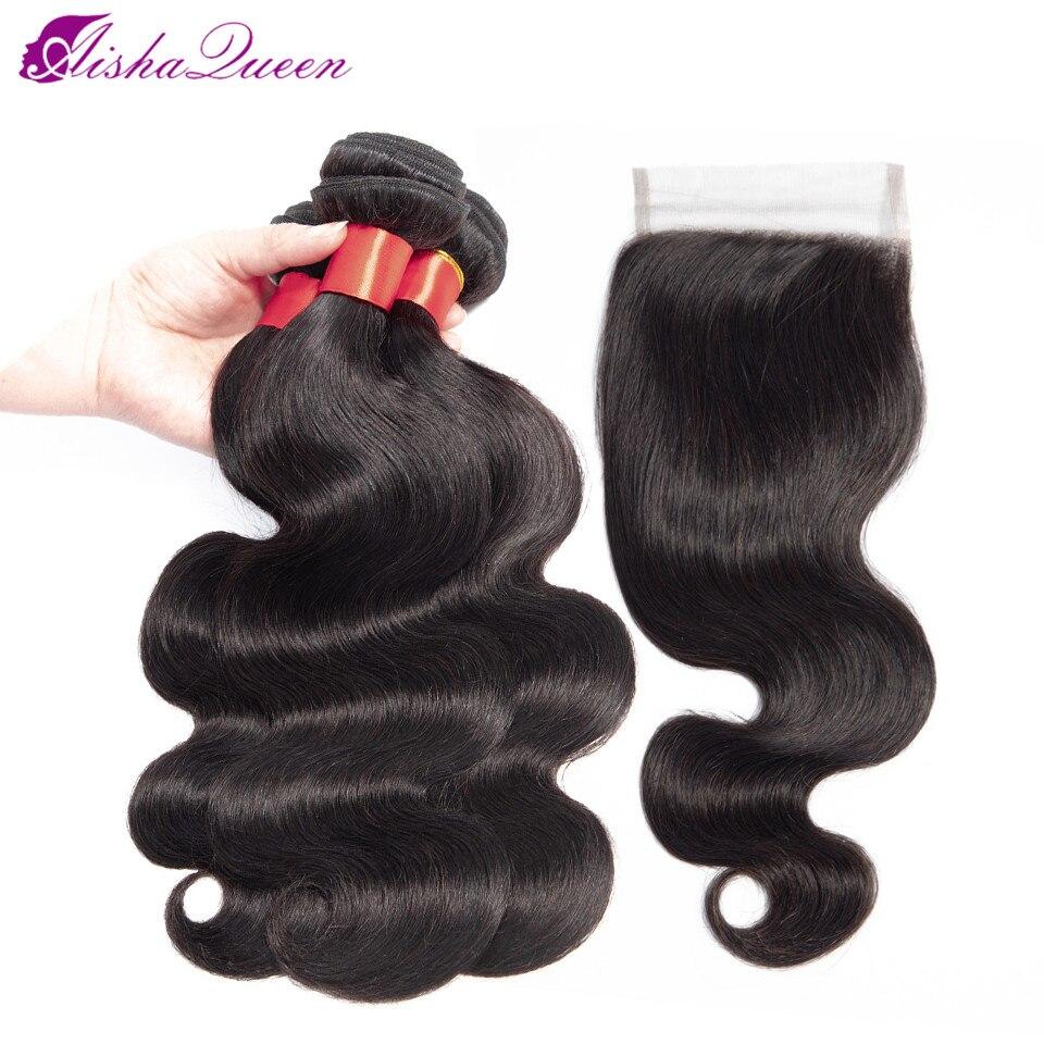Aisha Queen Brazilian Hair Body Wave 3 Bundles With Closure Human Hair Bundles With Closure Non