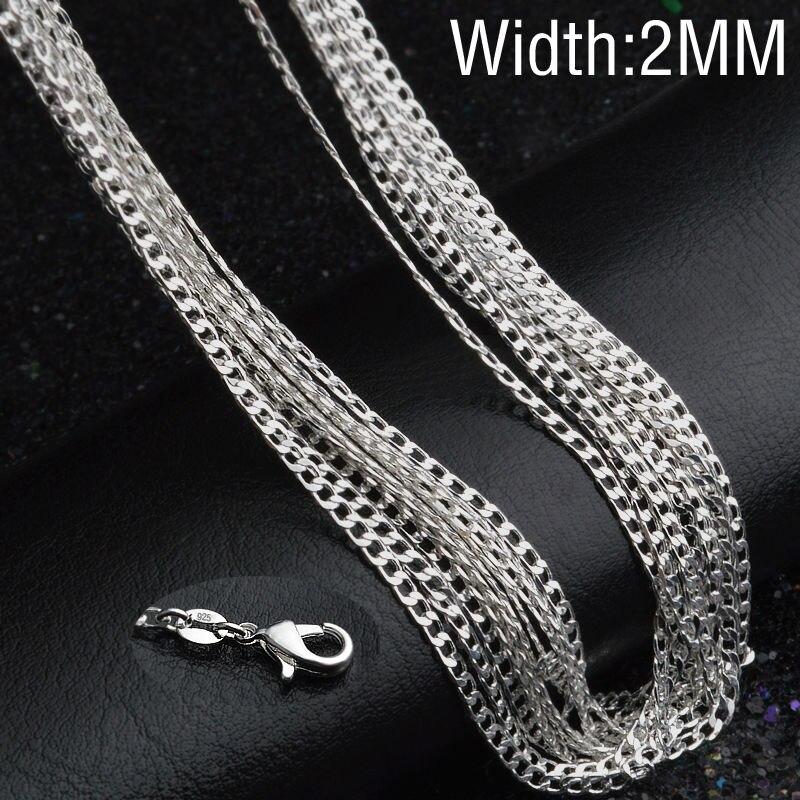 "2 Mm 925 Solide Argent Sterling Collier Figaro Chaîne 18/"" pouces Fashion Hommes Femmes"