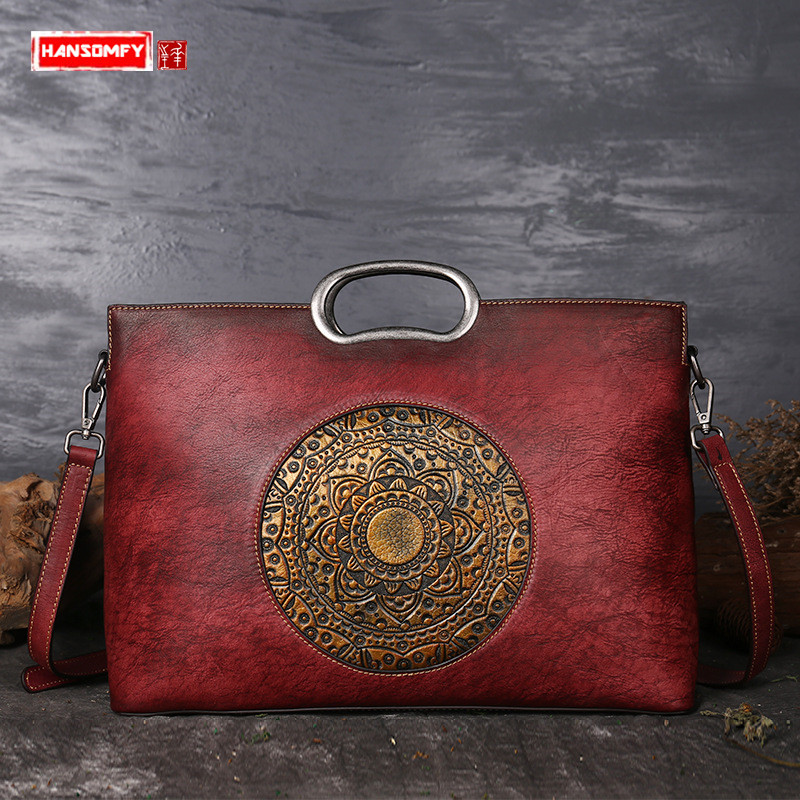 HANSOMFY First layer of leather Women handbags retro handmade large capacity embossed hand-painted totem shoulder messenger bags