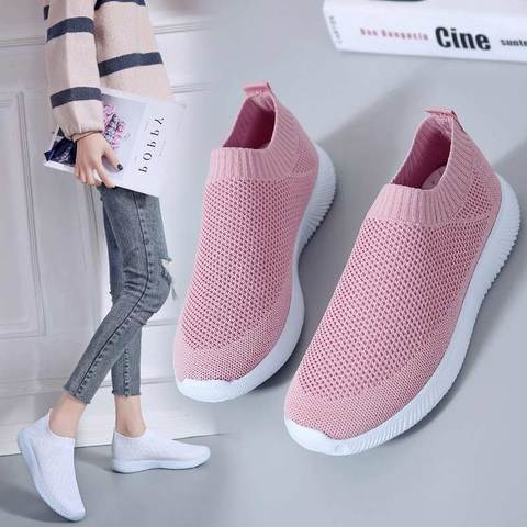 Summer sports shoes women sneakers 2019 new lighted flat with mesh casual shoes woman outdoor slip-on solid running women shoes Karachi