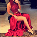 Два Шт Горячий Красный Русалка Пром Платья 2016 Высокая Шея Блестками Сторона Сплит Вечернее Платье Black Girl vestidos de renda