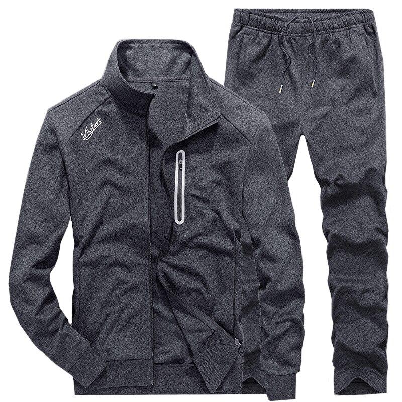 Slim hommes Sweat costumes ensembles survêtement mâle pulls décontractés hommes survêtement Fitness veste sport costumes manteau + pantalons de survêtement S201