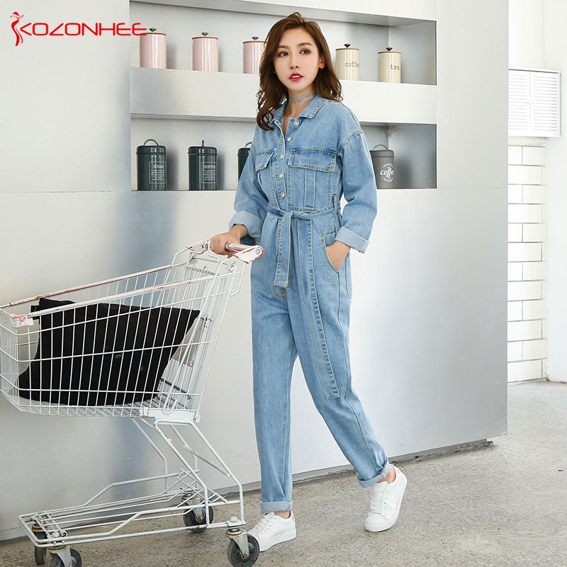 Loose Sashes Denim Work Suit Overalls Jumpsuits Pocket Rompers Jeans with high waist Plus Size Women