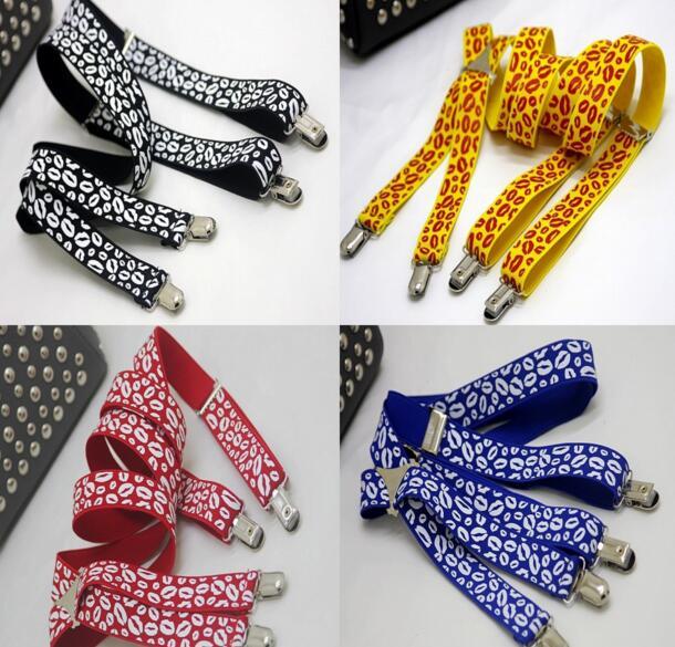 2018 Neue Frauen Lippen Muster 4 Clip Strap Clip Britischen Hängen Hosen Mit 2,5 Cm Breite