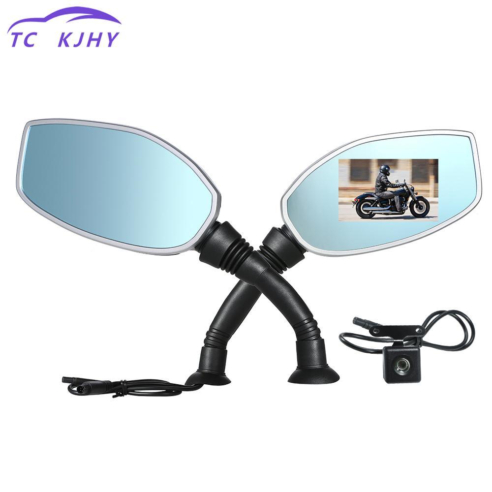 2018 Auto Motorcycle Rearview Mirror Twin Camera Motorbike Dash Cam Video Cam corder 2.4 Inch Dual Cameras Display Car Camera
