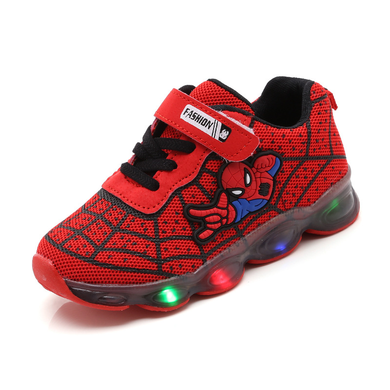 led mesh spiderman kids <font><b>shoes</b></font> <font><b>children</b></font> boys girls led luminous sport sneakers baby <font><b>children</b></font> kids casual mesh sneakers <font><b>shoes</b></font> image