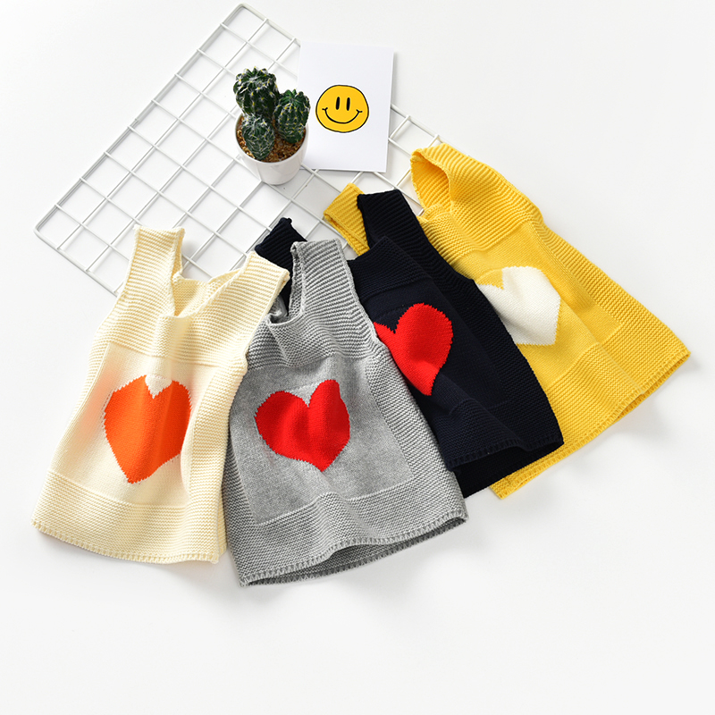 MCYYXY Little Boys Girls Kint Sweater Vest Kids LOVE Cardigan Spring Summer Pullover Brand Chothing