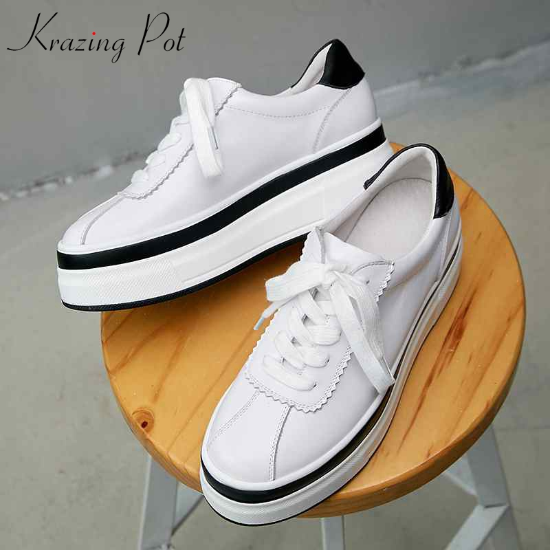 Krazing Pot hot sale cow leather wedges platform round toe causal lacework fairy girls cozy white