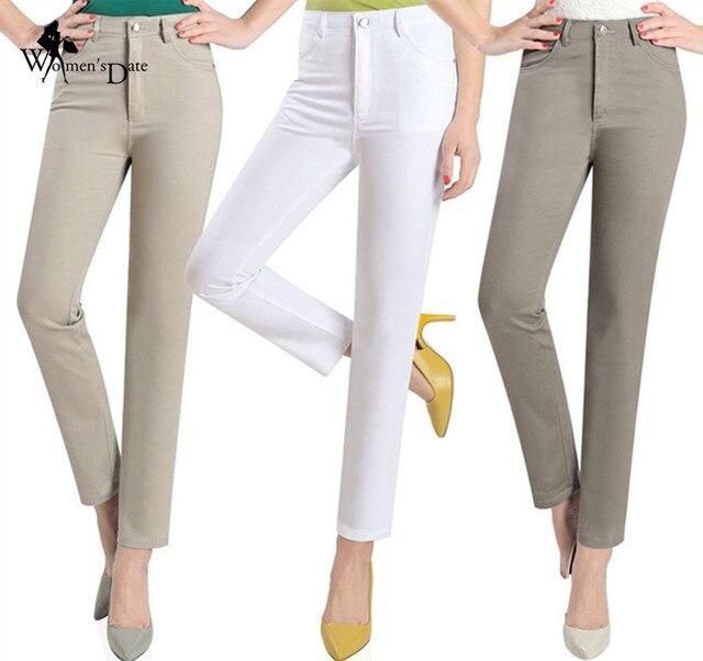 WomensDate Women Straight Pants Spring Autumn 2017 High Wsiat Trousers Casual Pants Ladies Pantalon Female Black White Pants