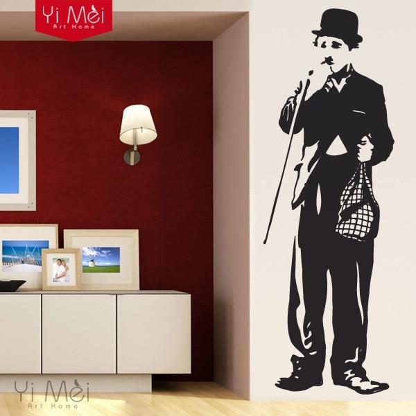 Hot Charlie Chaplin Silhouette Wall Art Sticker Decal DIY Home Decoration Decor Wallpaper  Mural Removable Bedroom StickersHot Charlie Chaplin Silhouette Wall Art Sticker Decal DIY Home Decoration Decor Wallpaper  Mural Removable Bedroom Stickers
