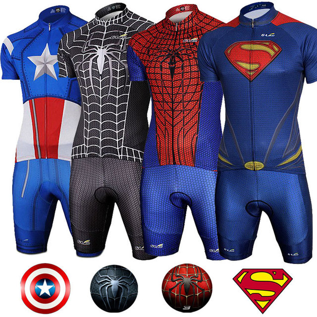 Superhero Superman Spiderman Captain America Short Sleeve Cycling Jersey  Pants Shorts Set 12 style Size M L XL e321e8e1b