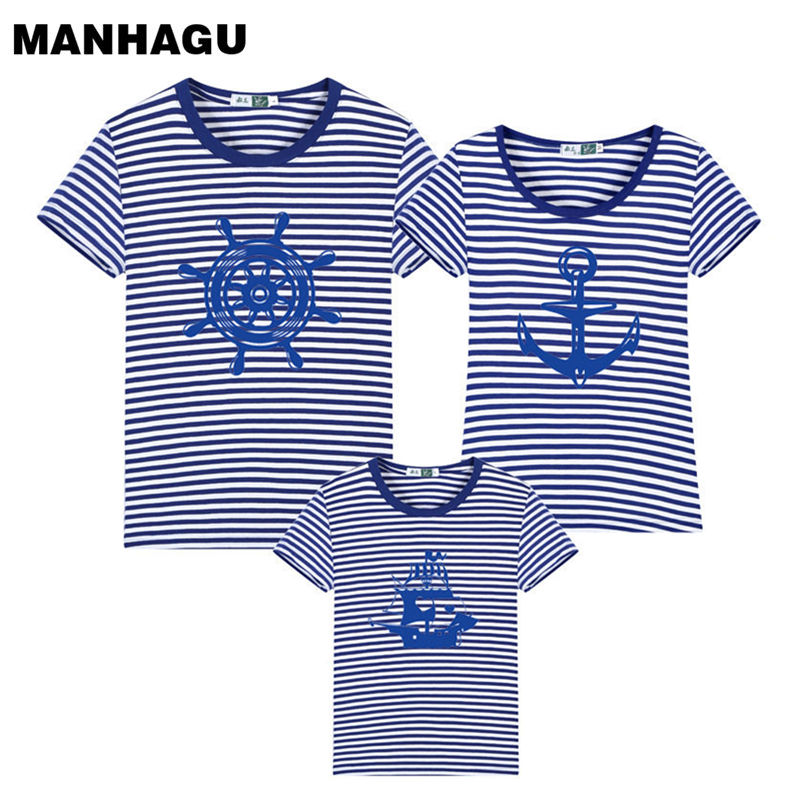New Family Striped Summer Short-sleeve T-shirt Matching Family Clothing Outfits Mother Daughter Father Son baby clothes sailor mother and daughter clothes short sleeved t shirt dresses family matching outfits baby girl clothes girls clothing long dress