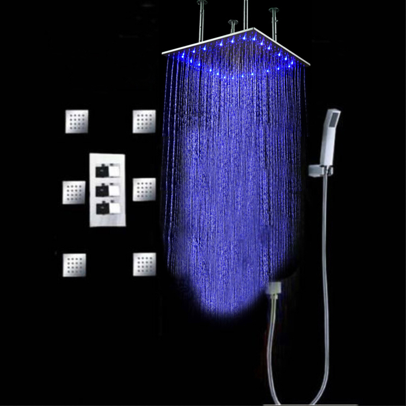 Wholesale And Retail LED 3 Colors Changing 20 Chrome Ceiling Mounted Shower Head Thermostatic Valve Mixer Tap W/ Massage Jets china sanitary ware chrome wall mount thermostatic water tap water saver thermostatic shower faucet