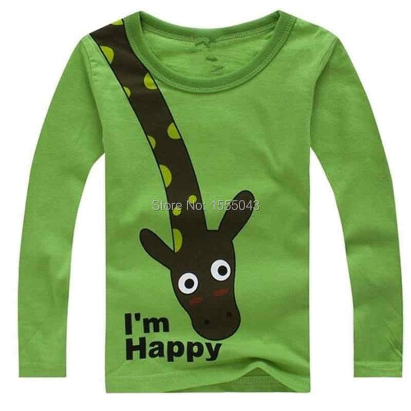 Лидер продаж, новинка 2018 года, футболка для мальчиков с длинными рукавами и жирафом, I'm Happy, топ, одежда с длинными рукавами Повседневная одежда для малышей