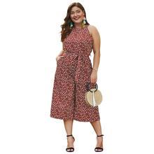 YZ Large Size Summer Jumpsuits  Elegant  Ladies 2019 New Romper Body Sleeveless Femme Straight Leg  with Belt Cropped Trousers цены онлайн
