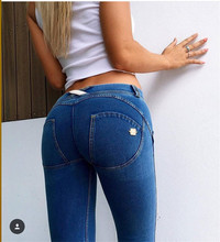 Italy Bottom Jeans Women Spring&Autumn Elastic Zipper Mid Little Feet Pants Woman Skinny Jeans Dark Blue G023
