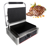 stainless steel electric sandwich maker Non Stick panini grill machine Griddle Grill Press Plate roast steak 1pc 220 240V 2200W