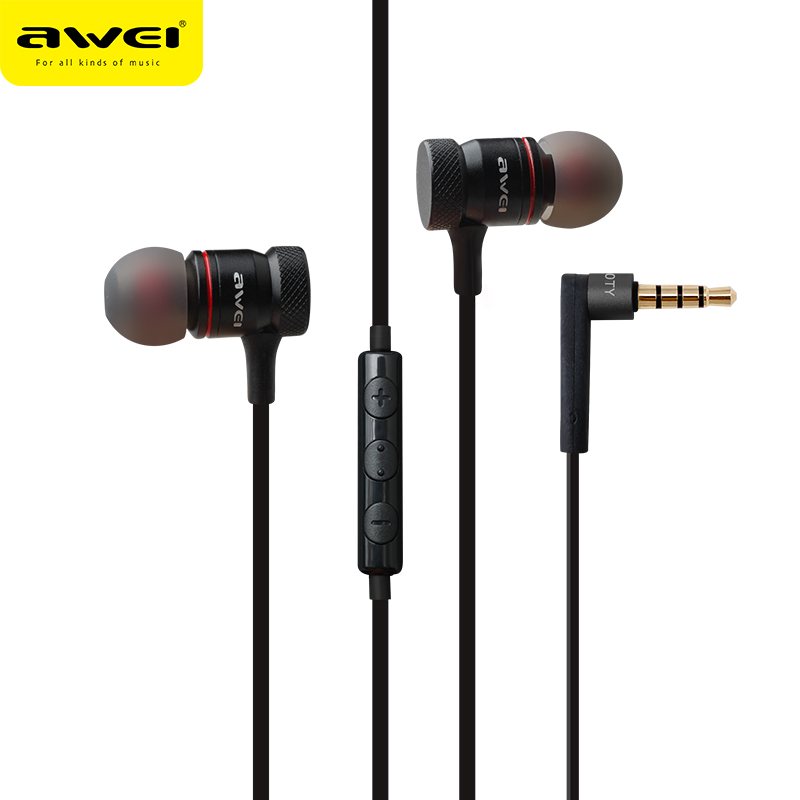 Awei ES-70TY In-Ear Earphone Metal  Stereo Headset Heavy Bass Sound  for iPhone Samsung Phones