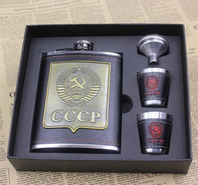 8oz Luxury Stainless Steel Hip Flasks Set Faux Leather Chip Flagon Whiskey Wine Bottle cccp Engraving Alcohol Pocket Flagon Gift