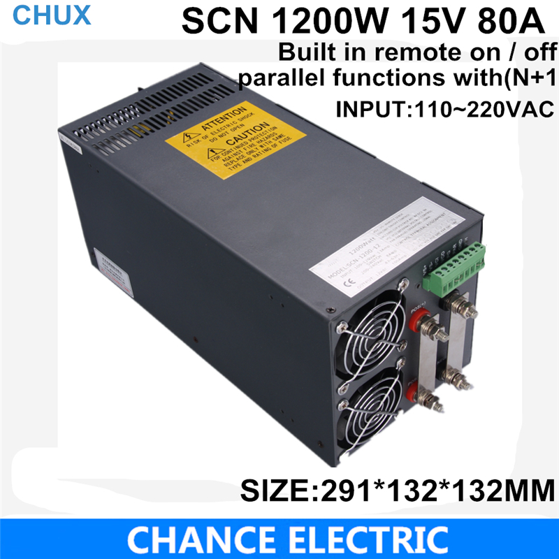 Built in remote on / off switching power supply 15V 80A 1200W 110~220VAC  single output  for cnc cctv led light(SCN-1200W-15V) 27v 22a switching power supply scn 600w 110 220vac scn single output for cnc cctv led light scn 600w 27v
