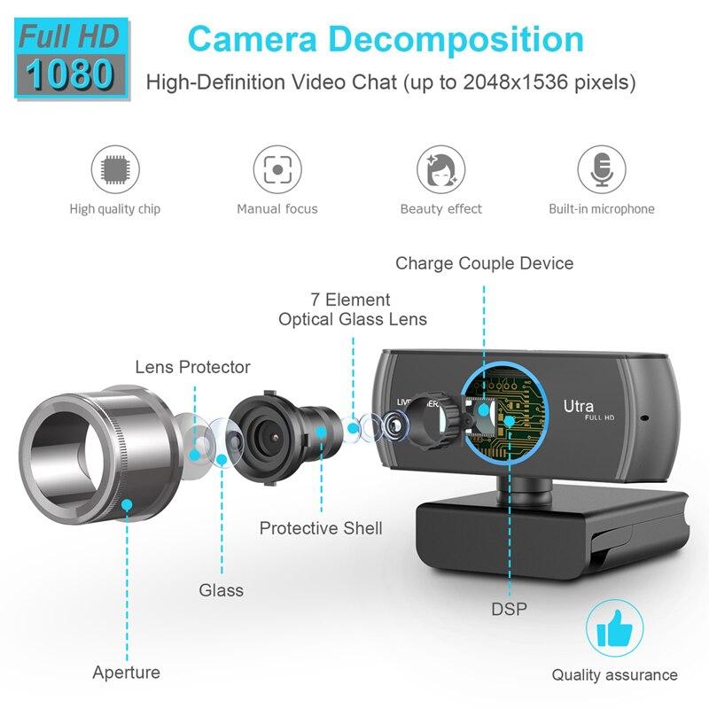 HD Webcam Intégré Deux Micros Intelligent 1080 P Caméra Web USB Pro Caméra Flux pour Ordinateurs Portables De Bureau PC Game Cam pour Mac OS Windows10/8 - 2