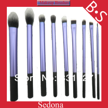 Super soft Taklon hair High Quality 9 pieces blue makeup brushes set blush kabuki blush blending eye shadow cosmetic brush
