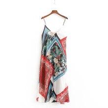 Sling Chiffon Printed Dress Women Summer Casual V-Neck Short Thin Straight Slim Female Sundress Beach Style Dresses