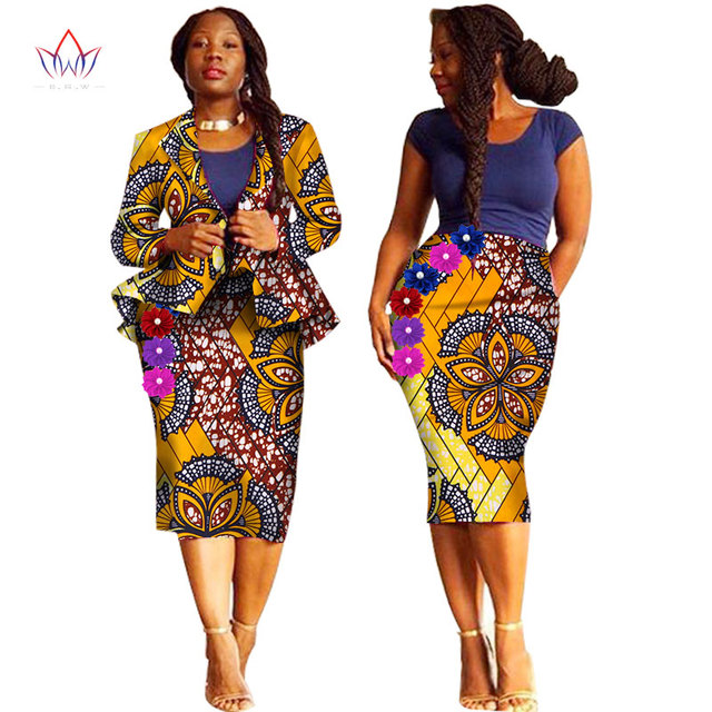 Summer african skirt suits Dashiki for women elegant lady skirt set femme  Bazin Riche cotton set plus size two pieces BRW WY1238 03519a059b16