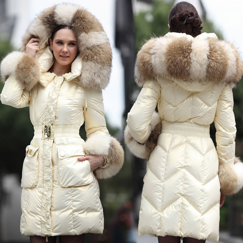 Fashion luxury large fur collar   down     coat   2016 Winter Jacket women   down   jackets medium-long thicken white   down   parka Outerwear