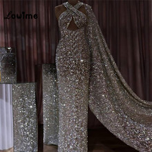 Dubai Formal Dress Evening Dresses Robe De Soiree Silver Backless Sexy Mermaid  Evening Gowns 2018 New d2342b243918