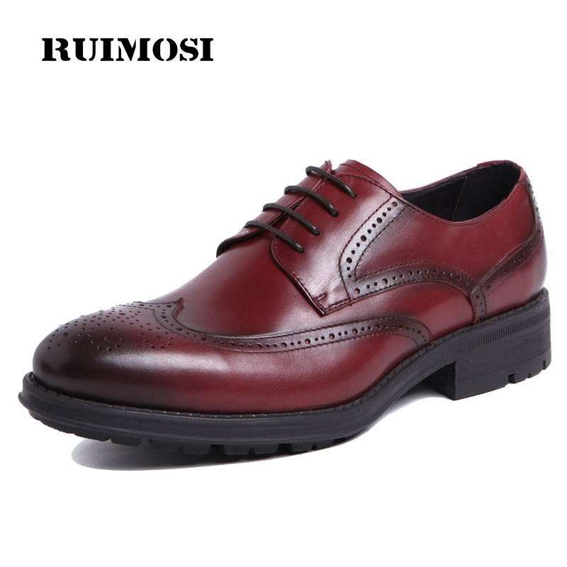 RUIMOSI Vintage Platform Man Formal Dress Derby Shoes Genuine Leather Brogue Male Oxfords Round Toe Men's Wing Tip Flats VK61