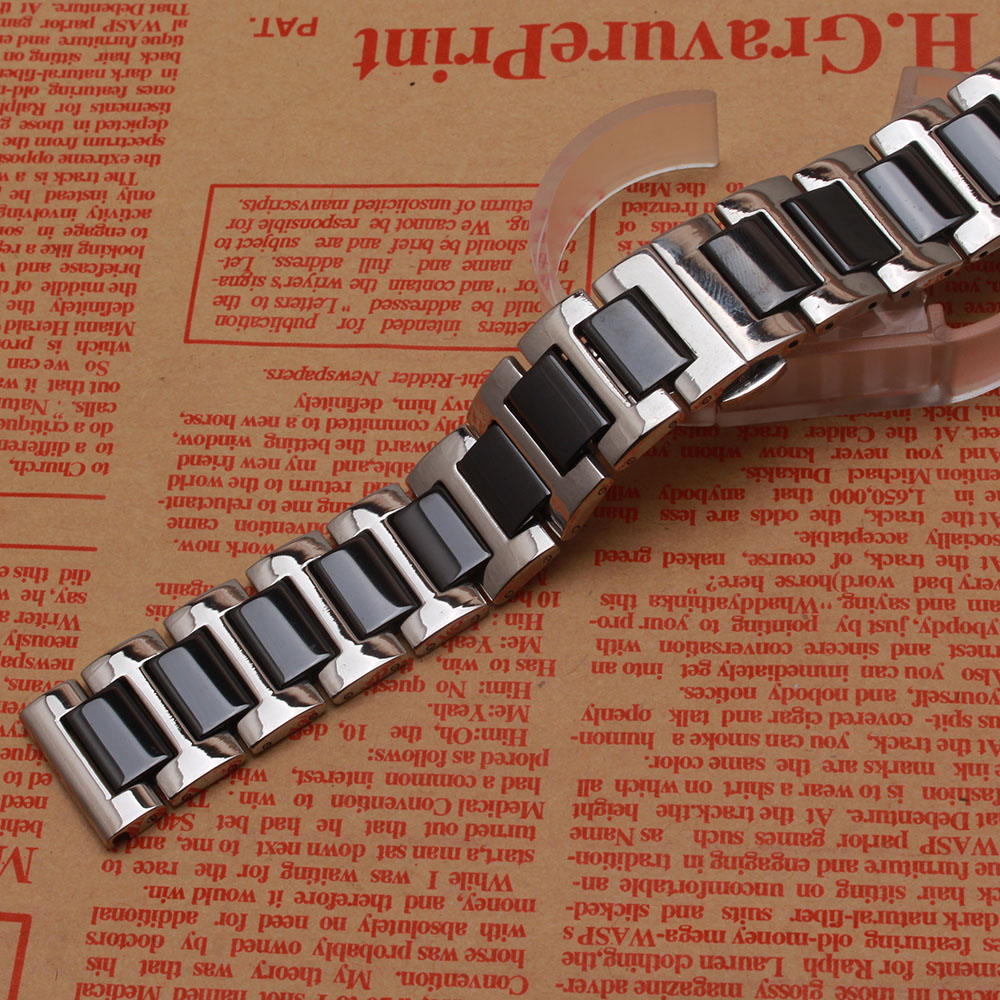 Black watchband ceramic With stainless steel silver metal watch band strap bracelet 14mm 16mm 18mm 20mm 22mm fit smart watch S3 цена и фото