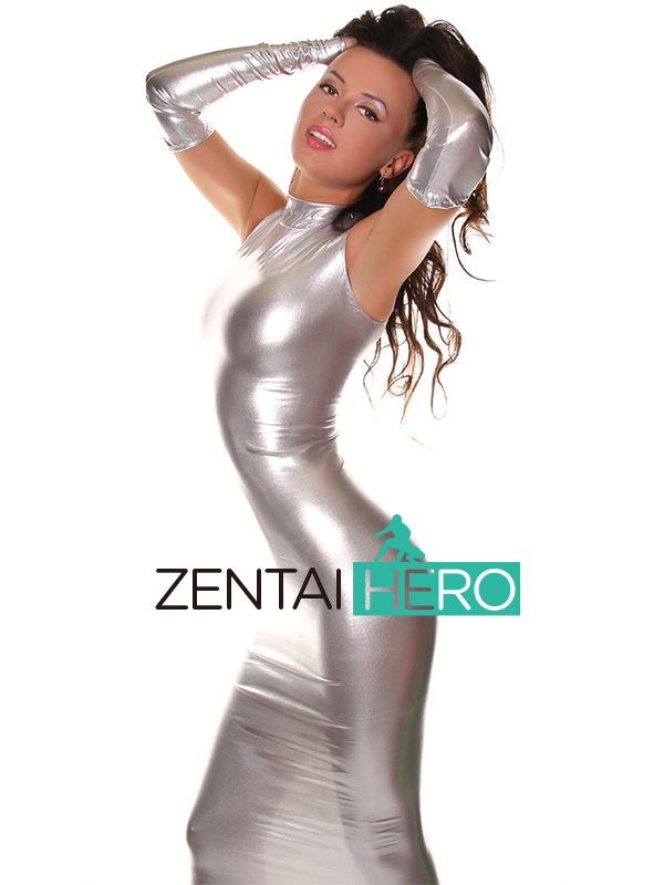 Free Shipping DHL Sexy Fancy Dress Adult Silver Long Gloves Bodysuit Shiny Metallic Zentai Dress Suit For Halloween Party free shipping dhl custom made new arrival sexy red pvc zentai catsuit zentai suit for halloween party front zipper zp1508