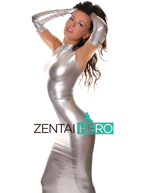 Free Shipping DHL Sexy Fancy Dress Adult Silver Long Gloves Bodysuit Shiny Metallic Zentai Dress Suit For Halloween Party