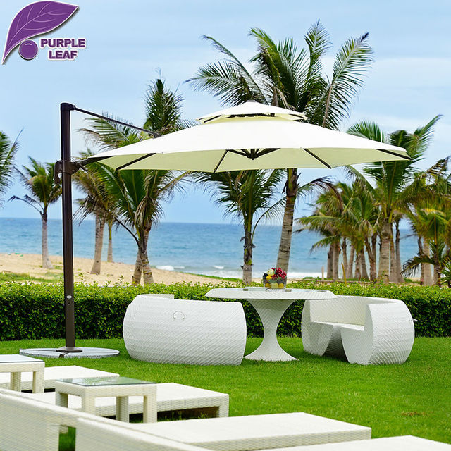 Purple Leaf Patio Umbrella Offset Outdoor Market Beach Cafe Parasol Round Square Uv Resistant