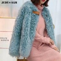 Long Sleeves Women Winter Lamb Fur Coat Warm Out Fashion Street Wear Oversize Sheep Fur Jacket