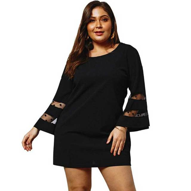 US $12.04 43% OFF|2019 Spring Plus Size Mesh Dress Women Flare Sleeve Fat  Dress Women Big Size Dress Ladies Lace Mini Short Party Dress For Women-in  ...