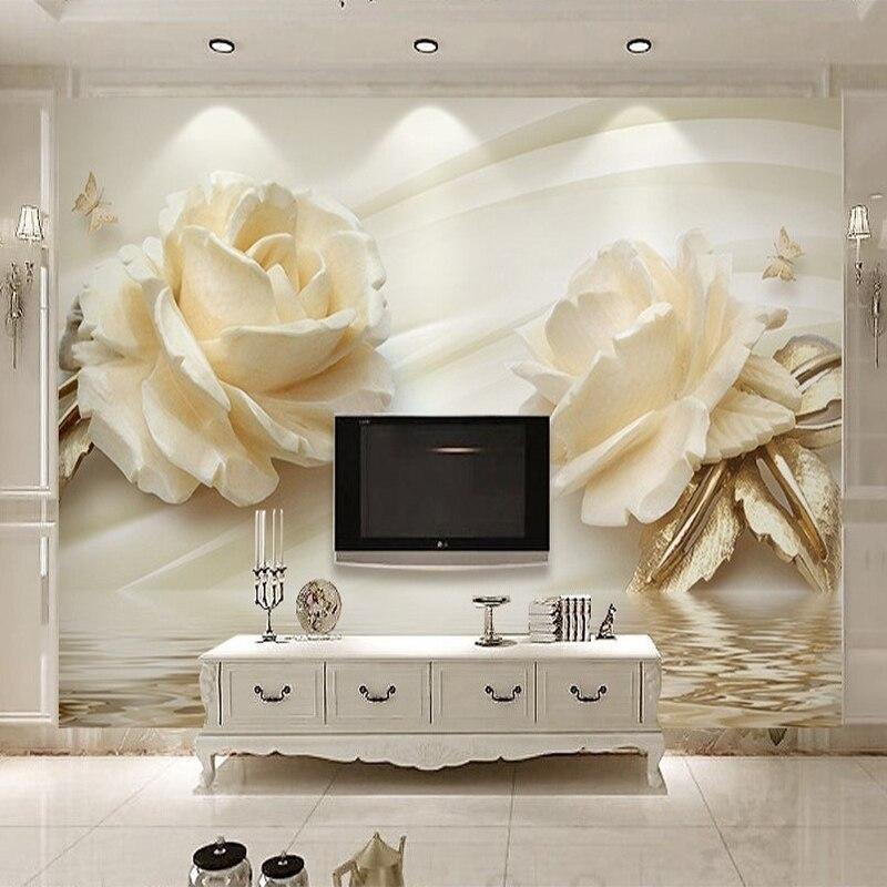 US $8.26 56% OFF|Europäischen Stil Einfache 3D Stereo Relief Weiß Rose Foto  Wandbild Tapete Wohnzimmer Schlafzimmer Romantische Wohnkultur Tapete ...