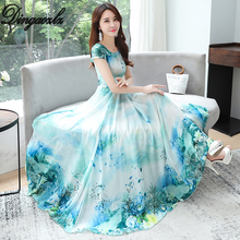 Dingaozlz 3XL Plus size Printed Chiffon dress Elegant Summer dress 2019 New Casual Short sleeve Vestidos Slim Women dress цена