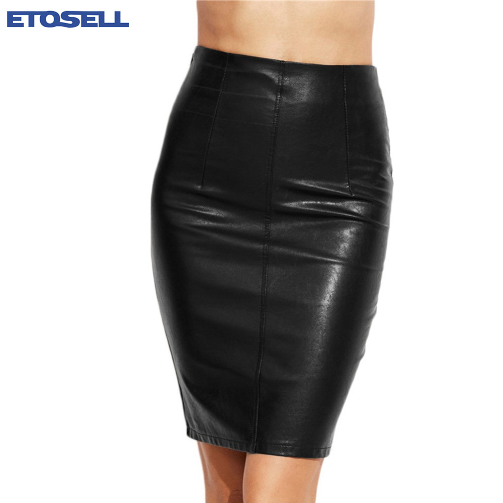 New Arrival Women Black Skiny Pencil Skirts Female Sexy Clothing Spring Autumn Punk Street Fashion Bodycon PU Leather Skirt