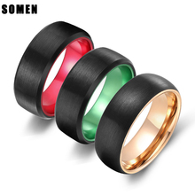 8MM Men Tungsten Carbide Ring Brushed Design Green /Red / Rose Gold/ Inlay Romantic Wedding Band Engagement Rings bague homme недорого