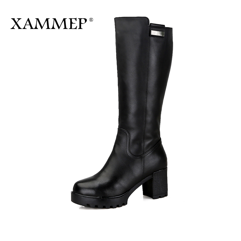 Xammep Brand Women Winter Shoes High Quality Knee High Boots Natural Wool Shearling Warmful Genuine Leather Women Winter Boots